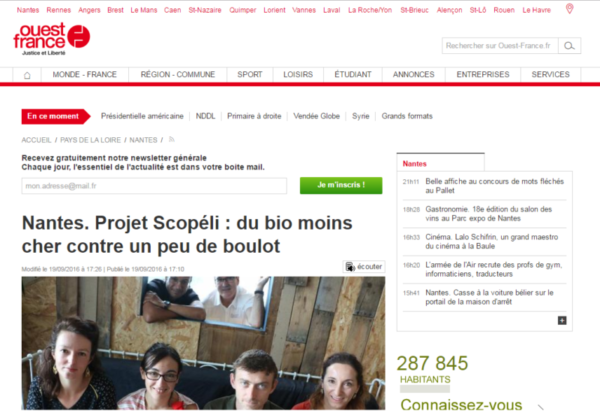Article de Ouest France sur Scopéli